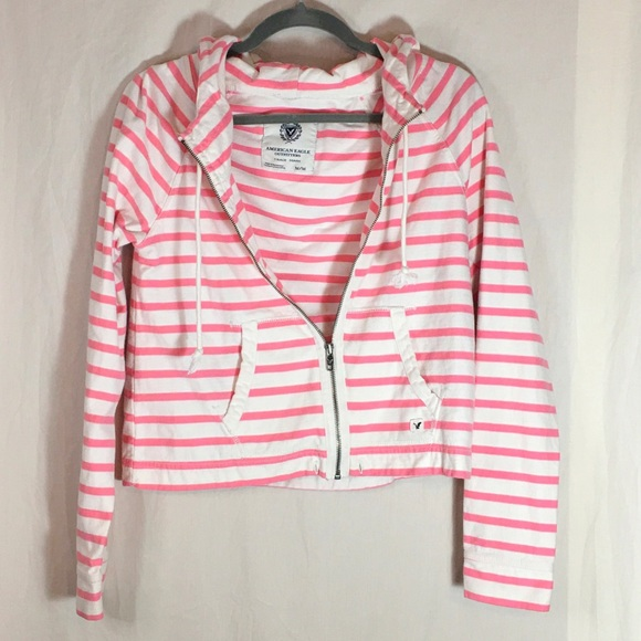 American Eagle Outfitters Jackets & Blazers - American Eagle Pink & White Striped Zip Hoodie